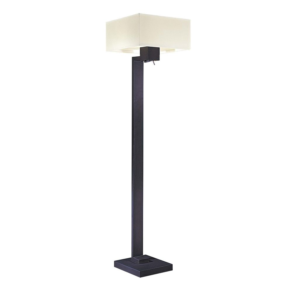 Modern Floor Lamp With White Shades In Bronze Finish