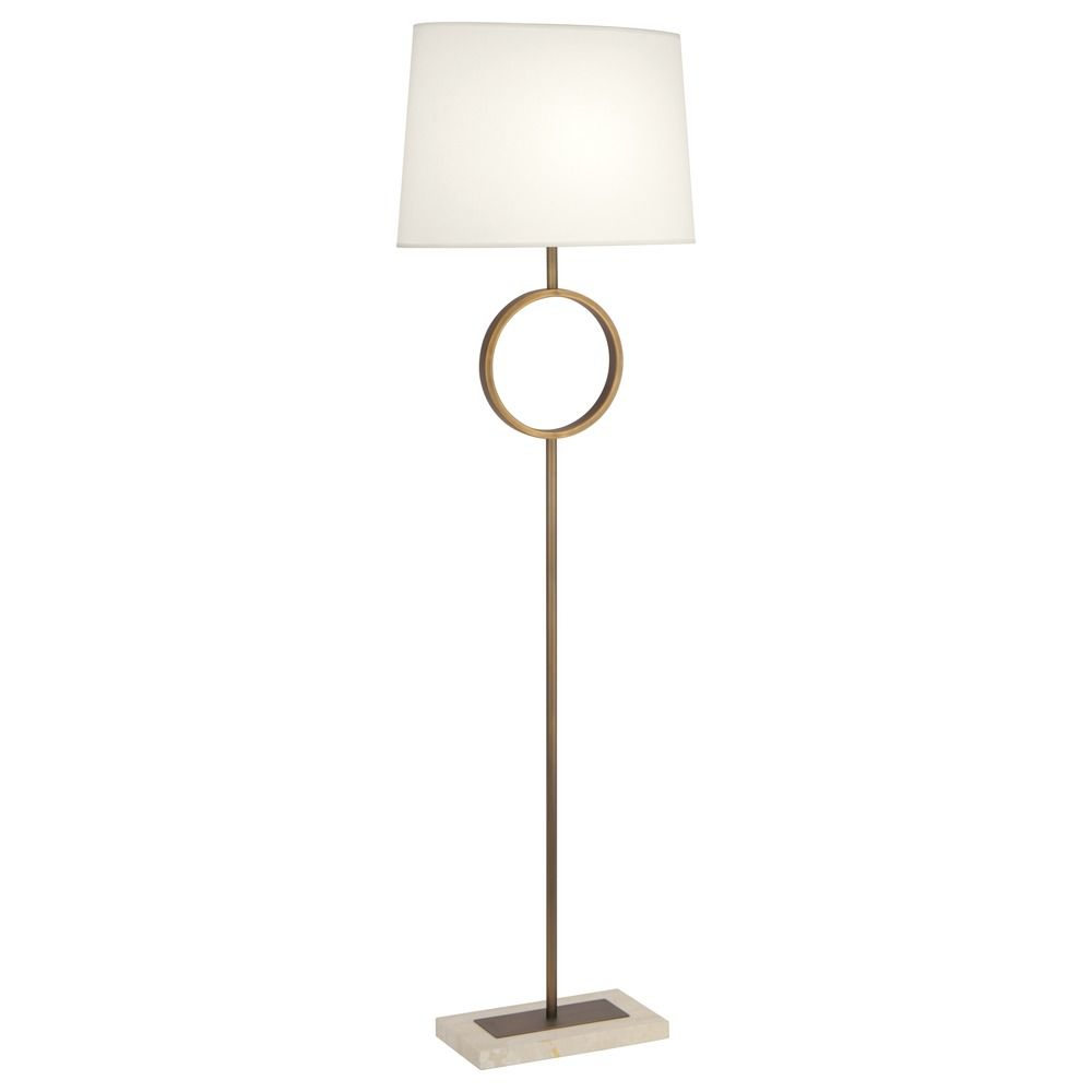 robert abbey logan aged brass w travertine stone base floor lamp with. Black Bedroom Furniture Sets. Home Design Ideas