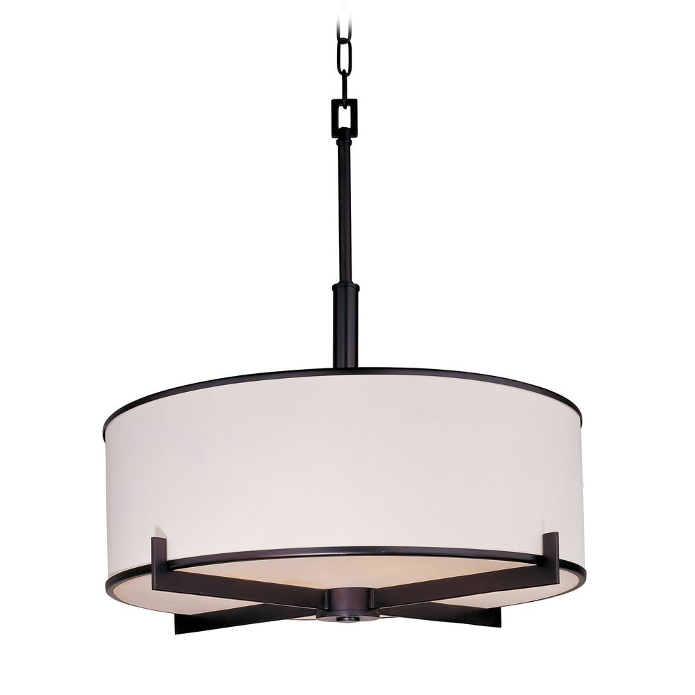 modern drum pendant light with white shade in rubbed