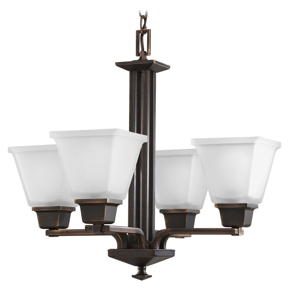 Venetian Bronze Chandelier: Progress Chandelier With White Glass In Venetian Bronze