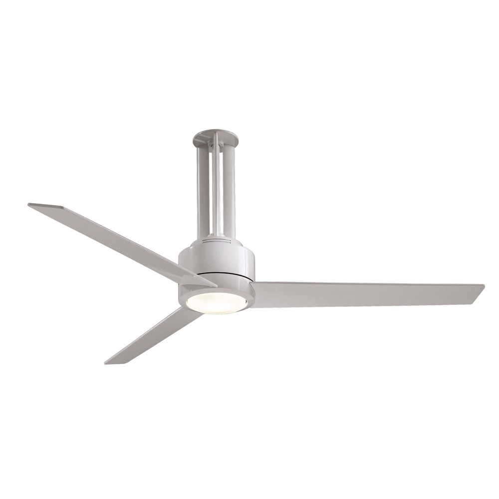 Modern Ceiling Fans With Lights: 56-Inch Modern Ceiling Fan With Light With White Glass