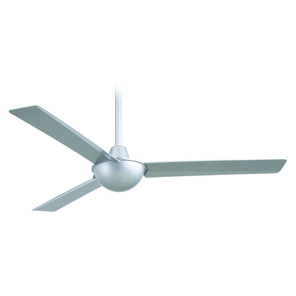 Modern Ceiling Fan Without Light In Silver Finish