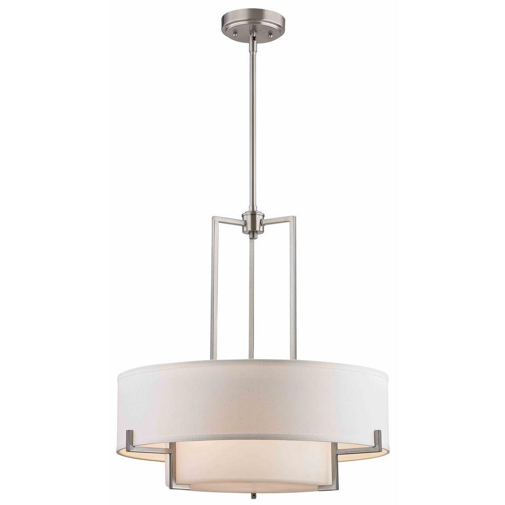 Modern Drum Pendant Light With White Glass In Satin Nickel Finish Alt1