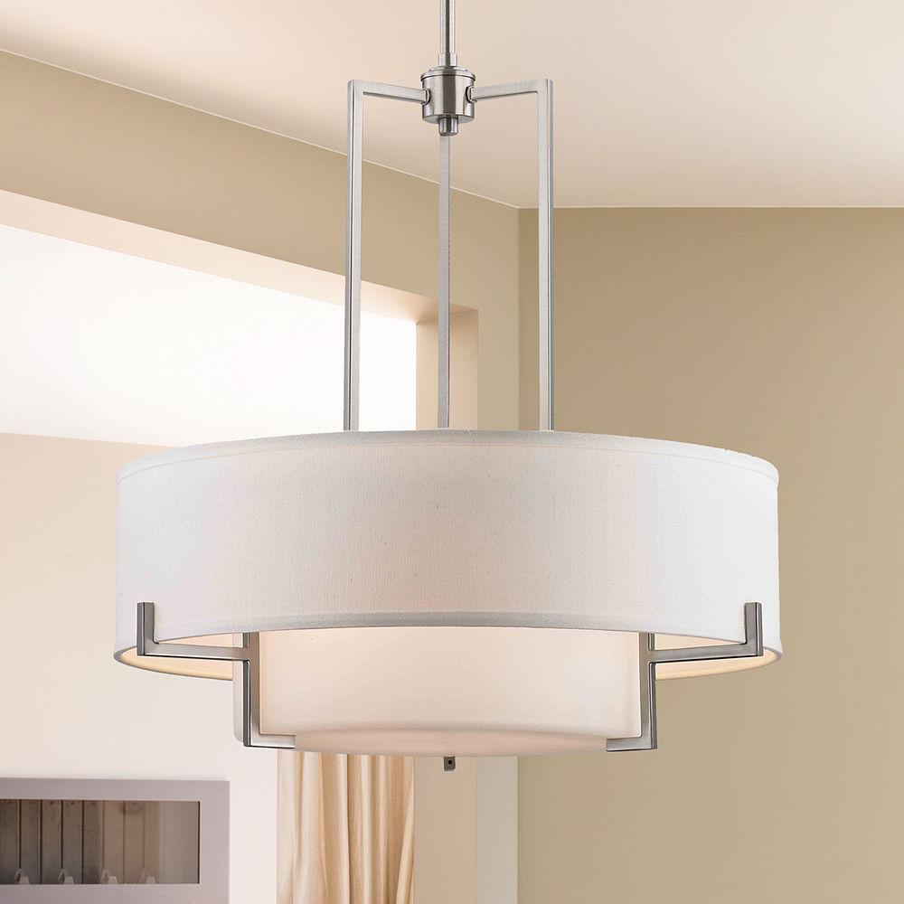 Modern Drum Pendant Light With White Glass In Satin Nickel Finish At Destination Lighting