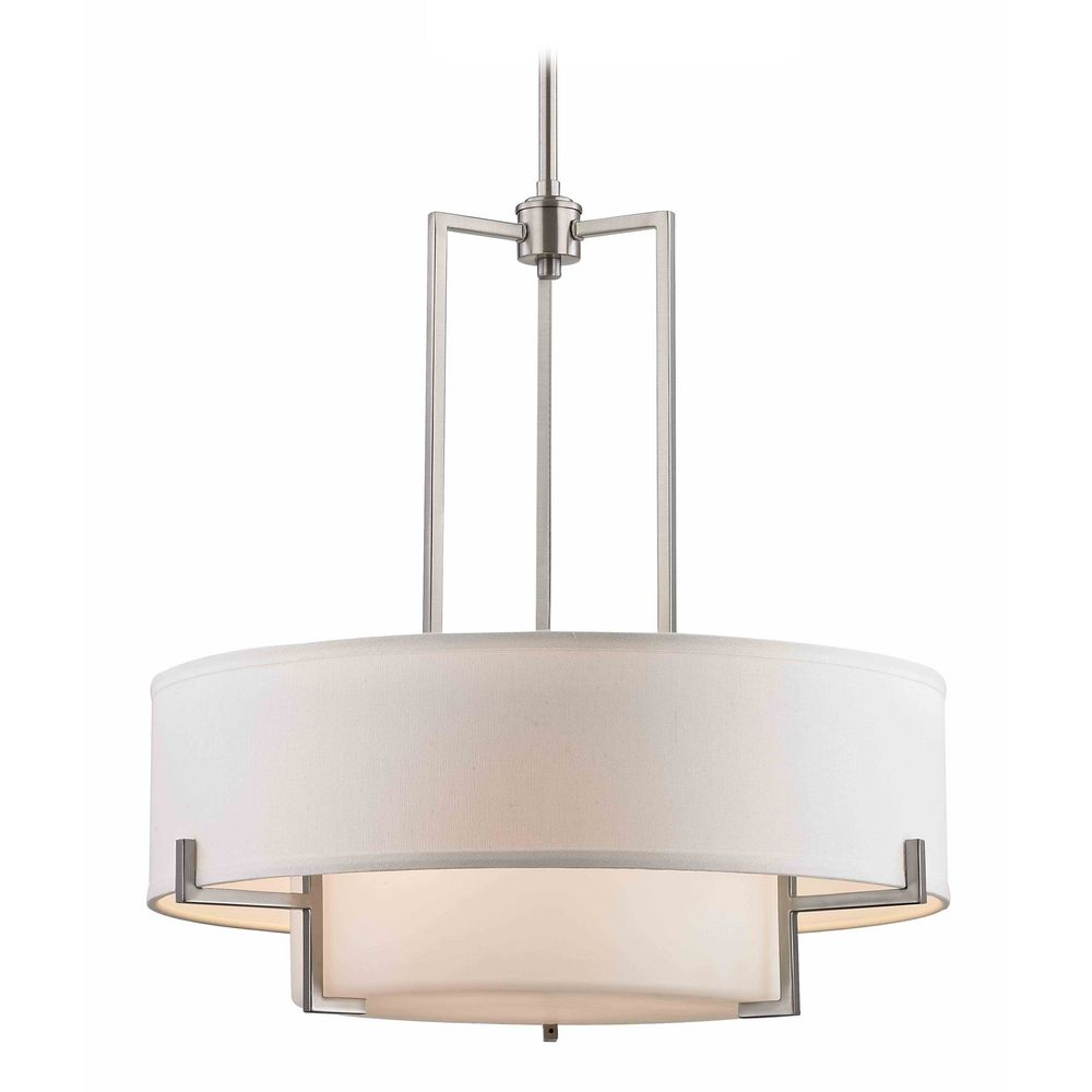 Modern Drum Pendant Light With White Gl In Satin Nickel Finish