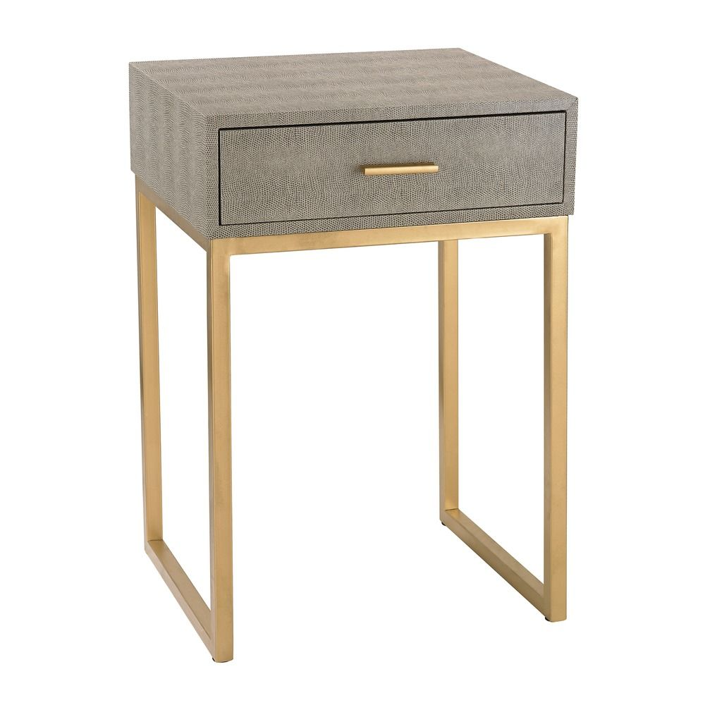 Shagreen Side Table In Grey 180 010 Destination Lighting