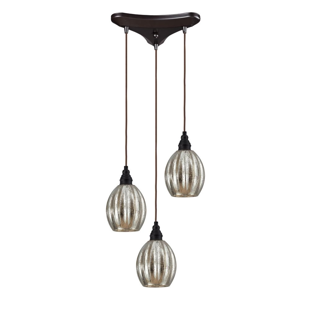 multi light pendant light with mercury glass and 3 lights