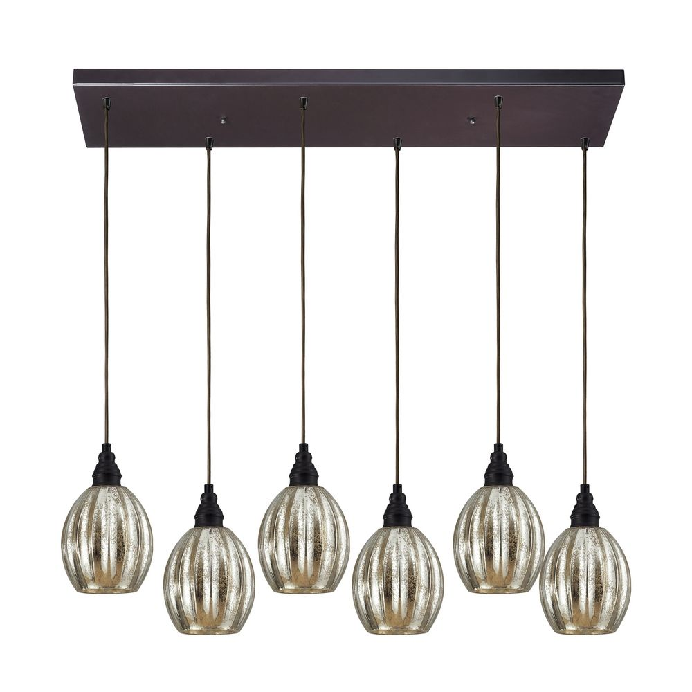 Multi-Light Pendant Light with Mercury Glass and 6-Lights ...