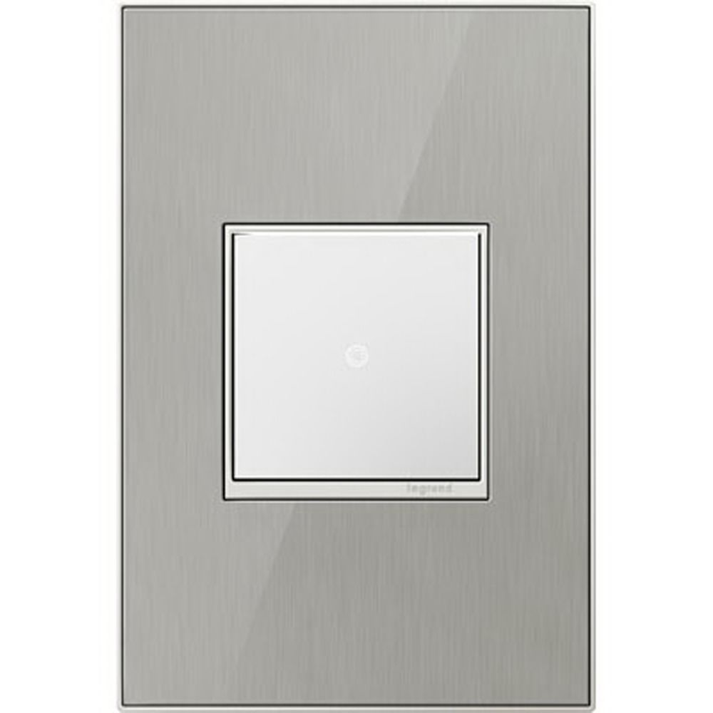 Legrand Adorne Brushed Stainless 1 Gang Switch Plate