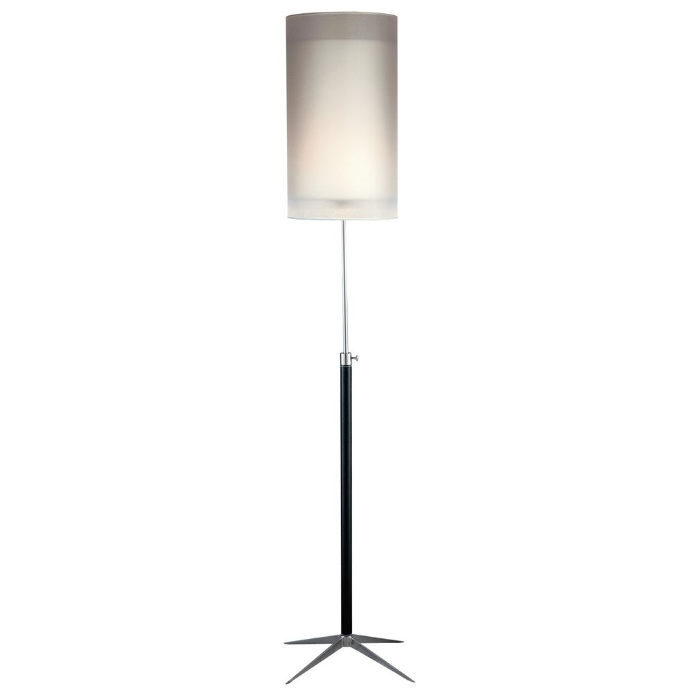 Modern Floor Lamp With White Paper Shade In Black Finish