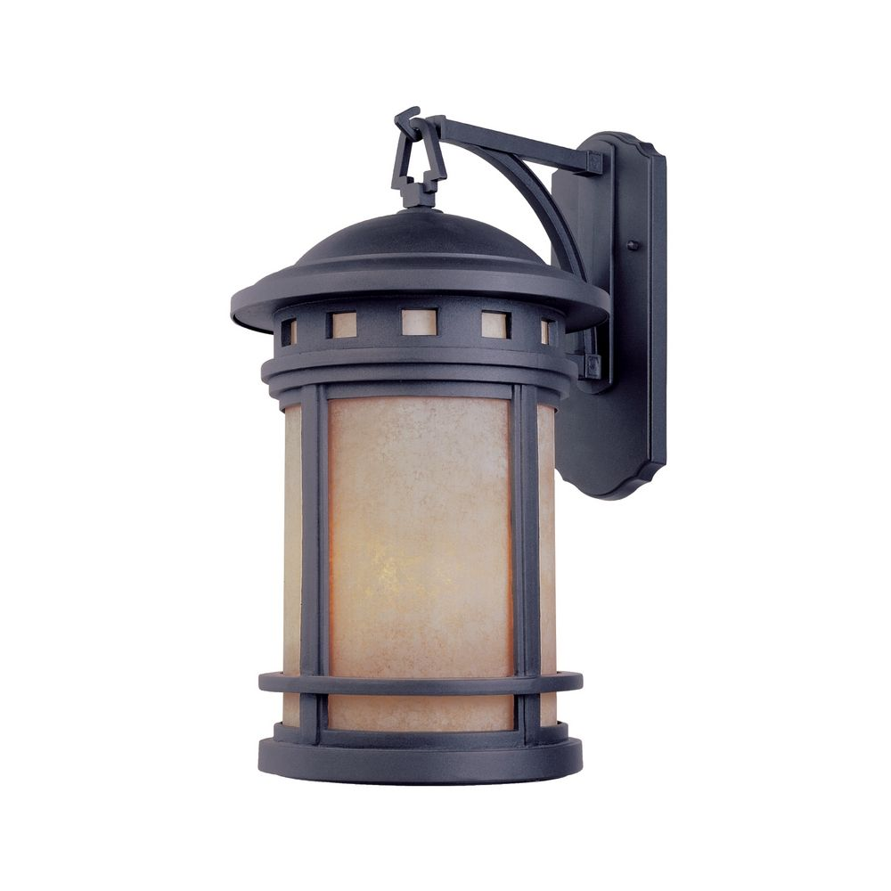 Wall Lantern External : Bronze Outdoor Wall Lantern with Amber Glass 2371-AM-MP Destination Lighting