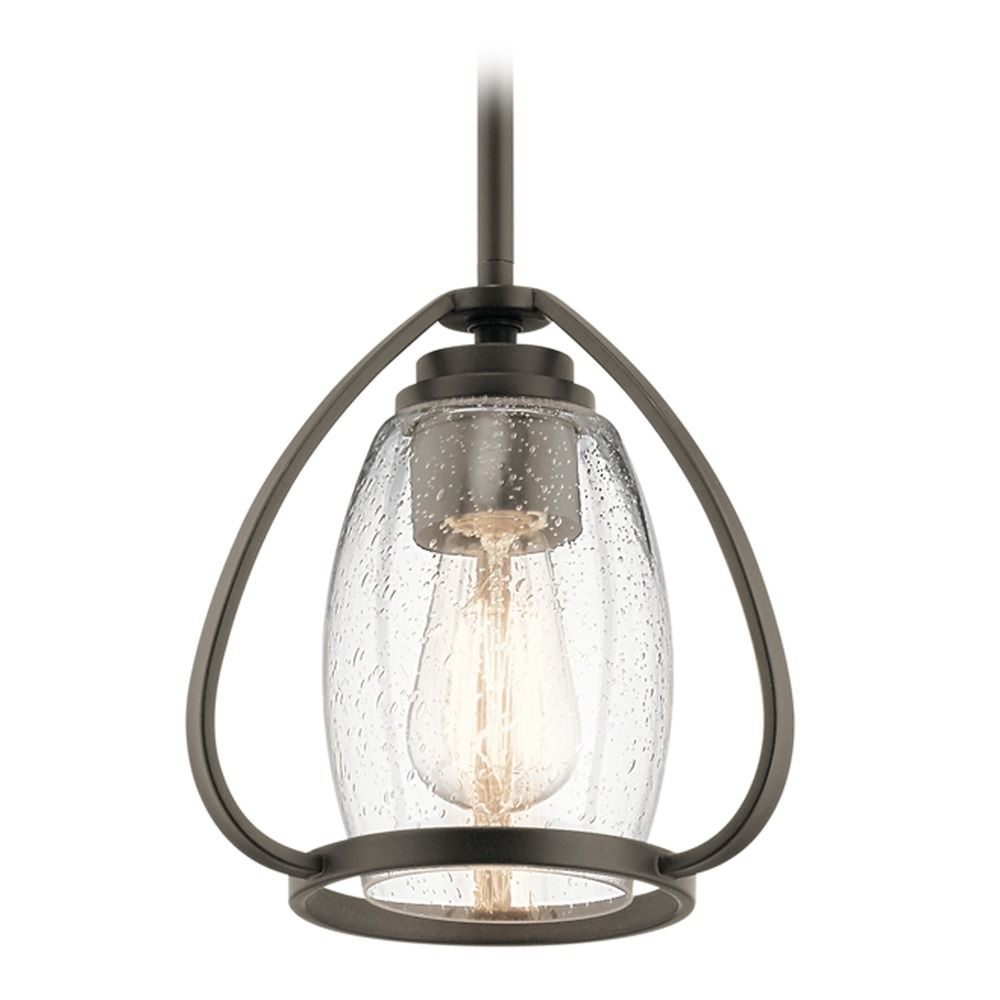 Kichler Fixtures: Seeded Glass Mini-Pendant Light Olde Bronze Tuscany By