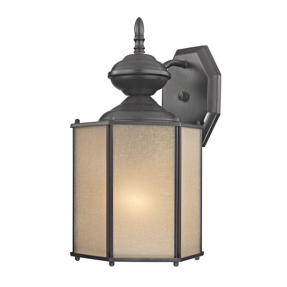 Bronze Outdoor Wall Light With Amber Hexagon Glass 344