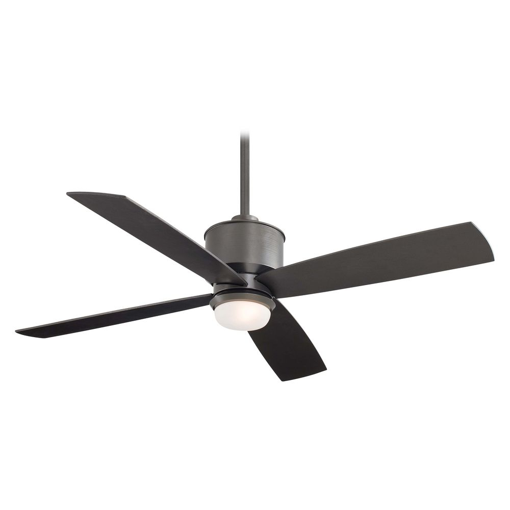 modern ceiling fan with light with white glass in smoked