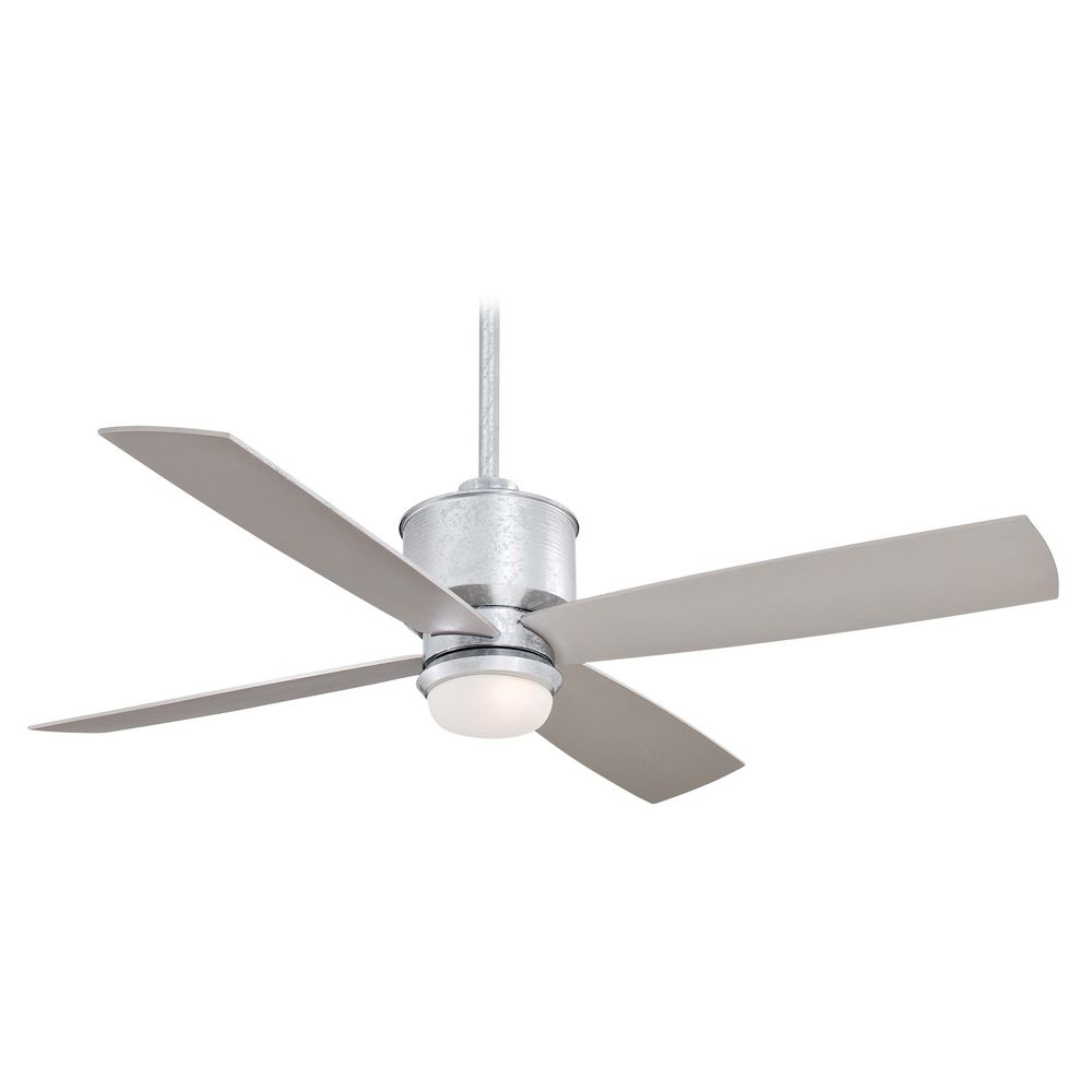 Modern ceiling fan with light with white glass in glavanized finish f734 gl destination lighting - Modern white ceiling fan ...