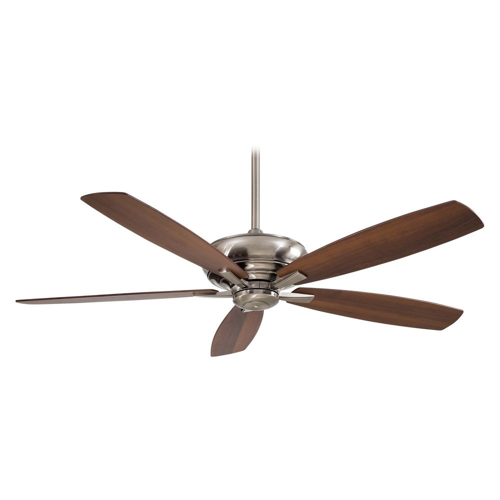 Modern Ceiling Fan Without Light In Pewter Finish