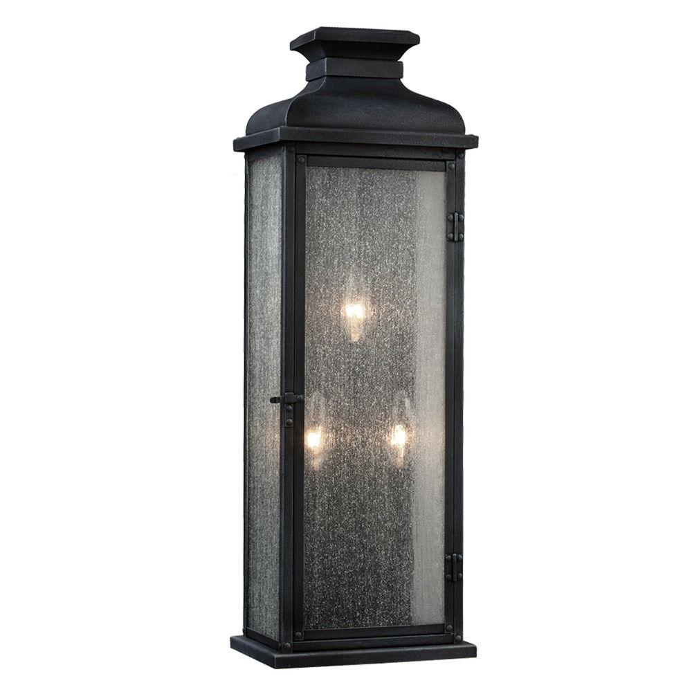 Feiss Lighting Pediment Dark Weathered Zinc Outdoor Wall Light OL11104DWZ Destination Lighting