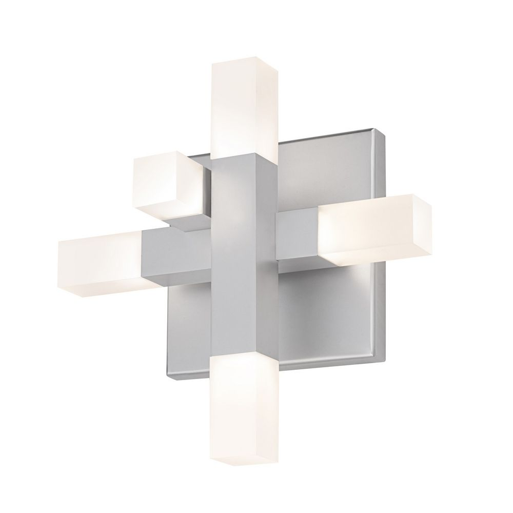 Modern LED Sconce Wall Light with White in Bright Satin Aluminum Finish 2110.16 Destination ...