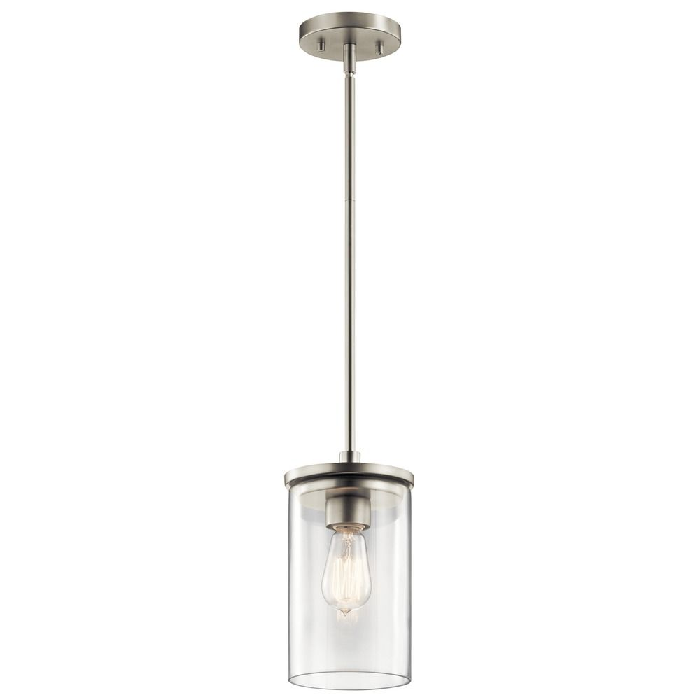 kichler lighting crosby brushed nickel mini pendant light with
