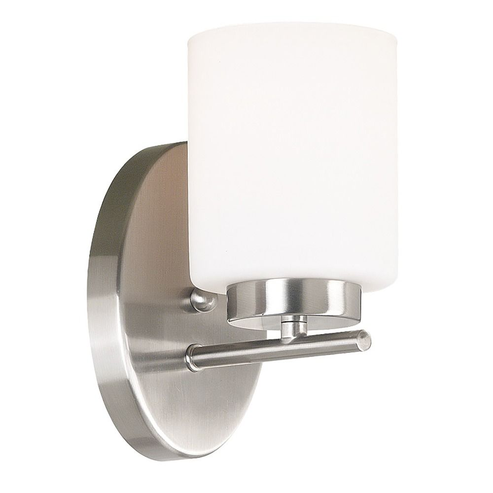 Wall Sconce White Glass : Modern Sconce Wall Light with White Glass in Brushed Steel Finish 80401BS Destination Lighting