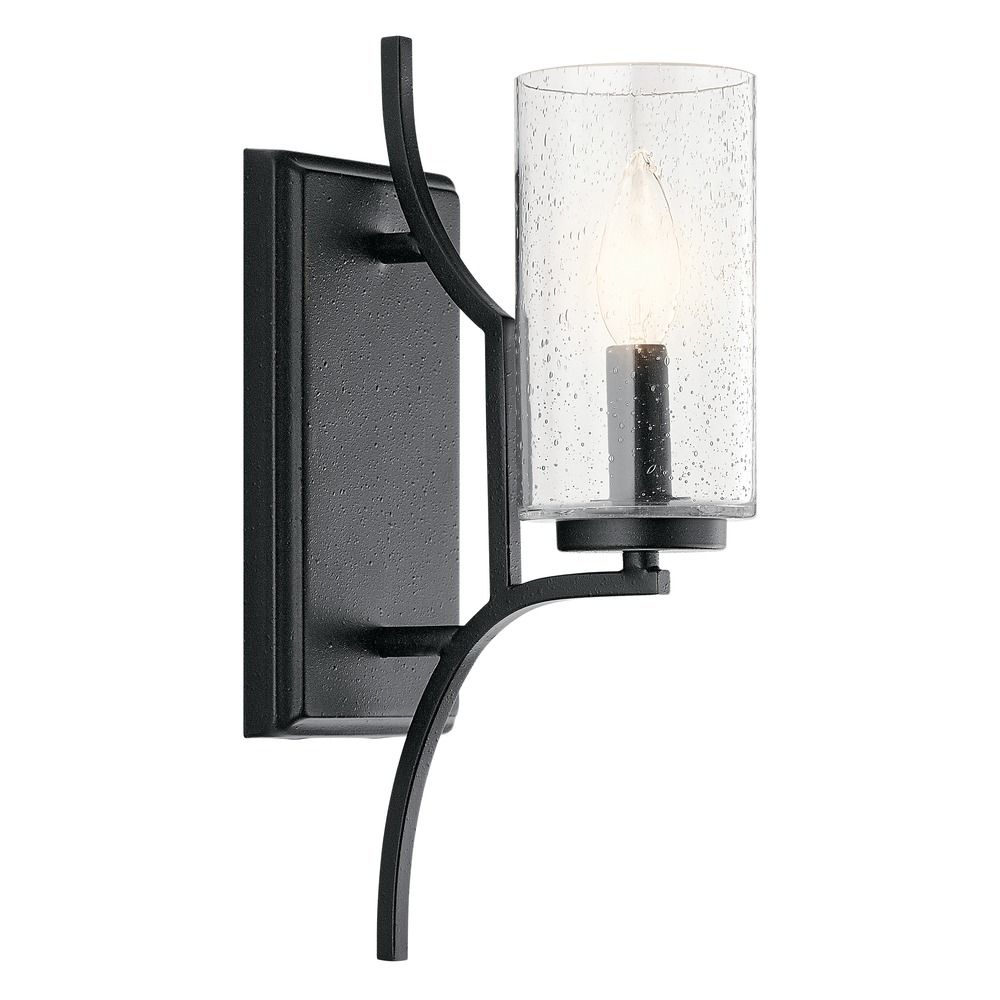 Dining Room Lighting Emory Collection Emory 3 Light: Seeded Glass Sconce Black Vara By Kichler Lighting