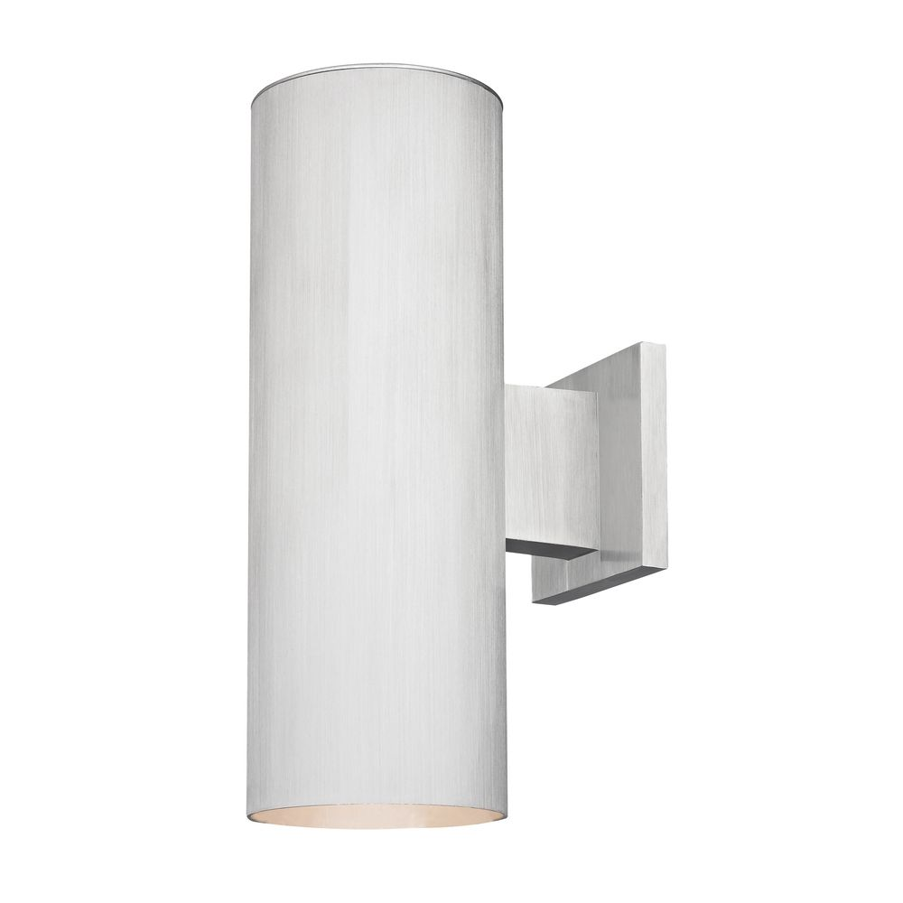 up down cylinder outdoor wall light in brushed aluminum finish