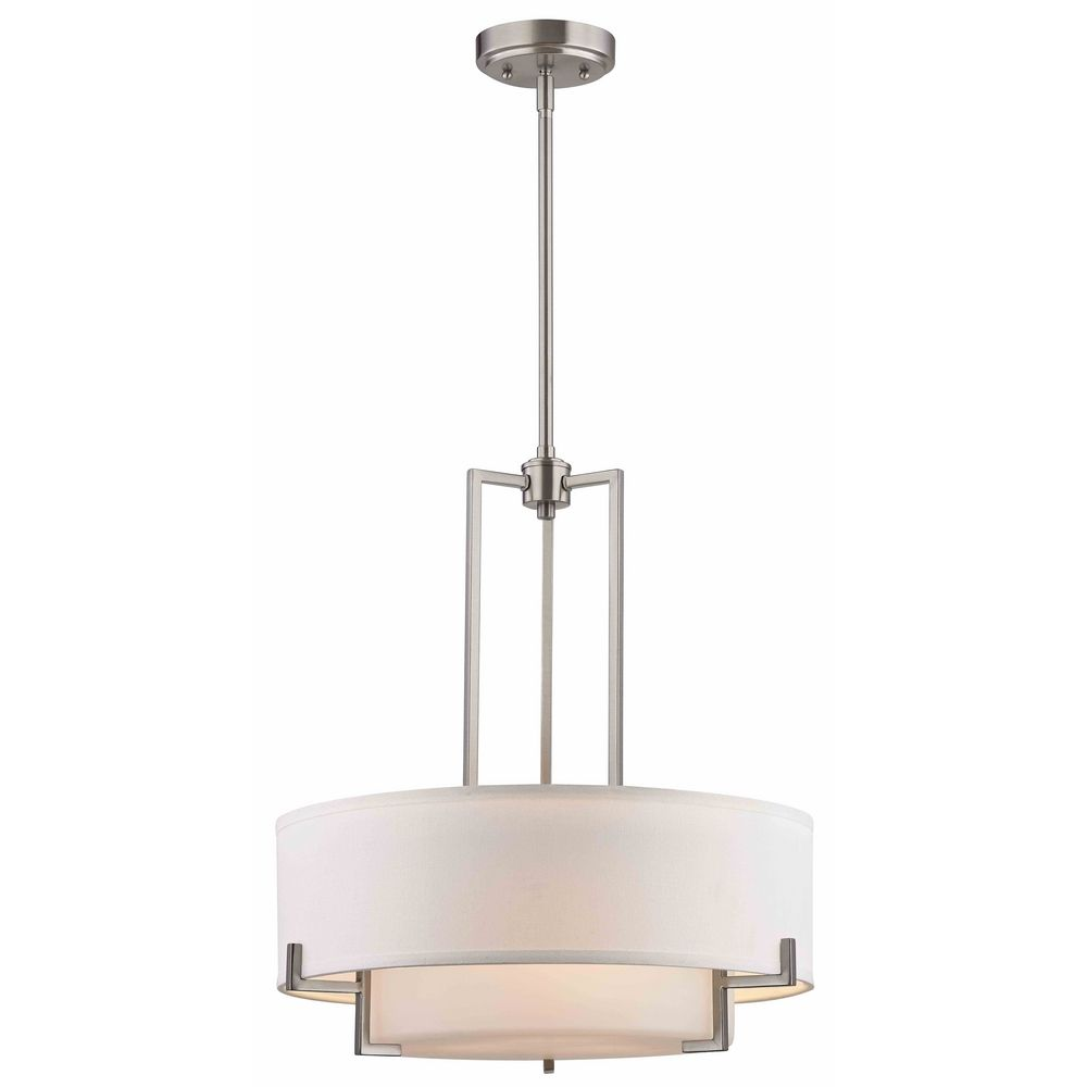 Modern drum pendant light with white glass in satin nickel finish modern drum pendant light with white glass in satin nickel finish alt1 aloadofball Choice Image