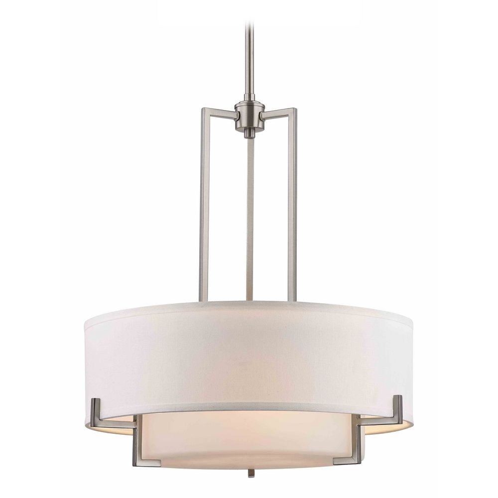 Modern drum pendant light with white glass in satin nickel for Dining room 3 pendant lights