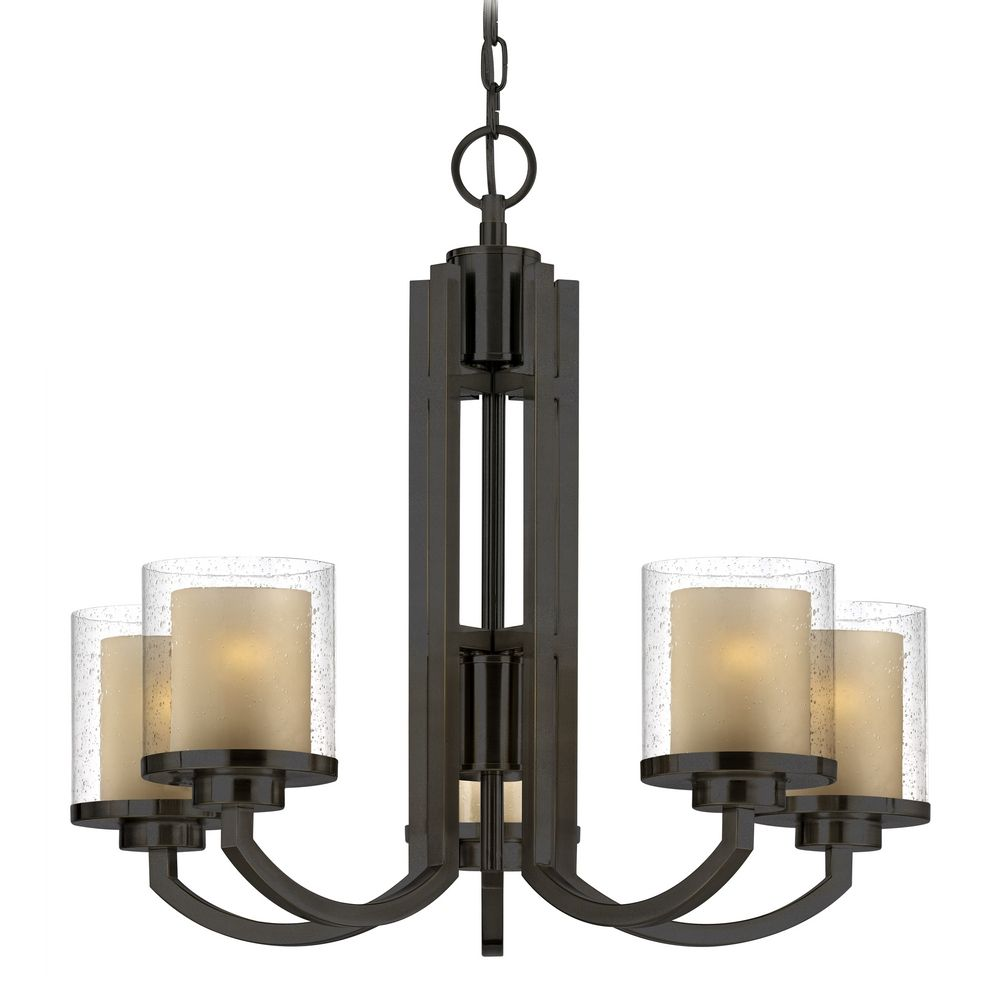 Modern Chandelier with Amber Glass in Bolivian Bronze Finish – Chandelier Bronze
