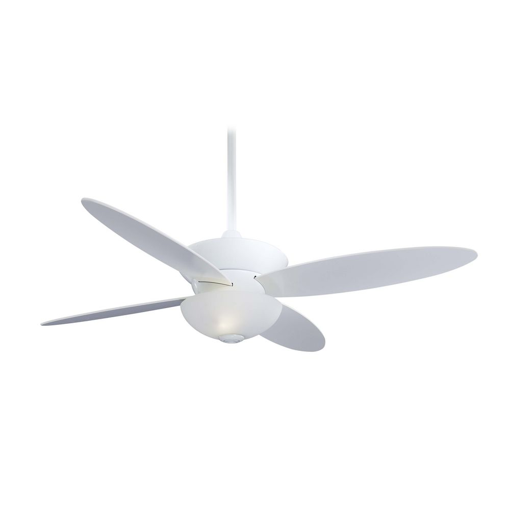 Modern ceiling fan with light with white glass in white Modern white ceiling fan