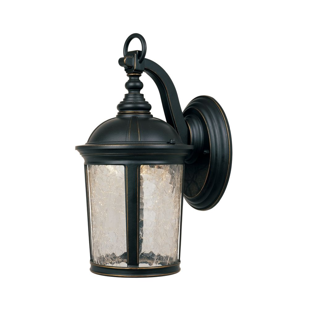 Led outdoor wall light with clear glass in aged bronze for Led yard light fixtures
