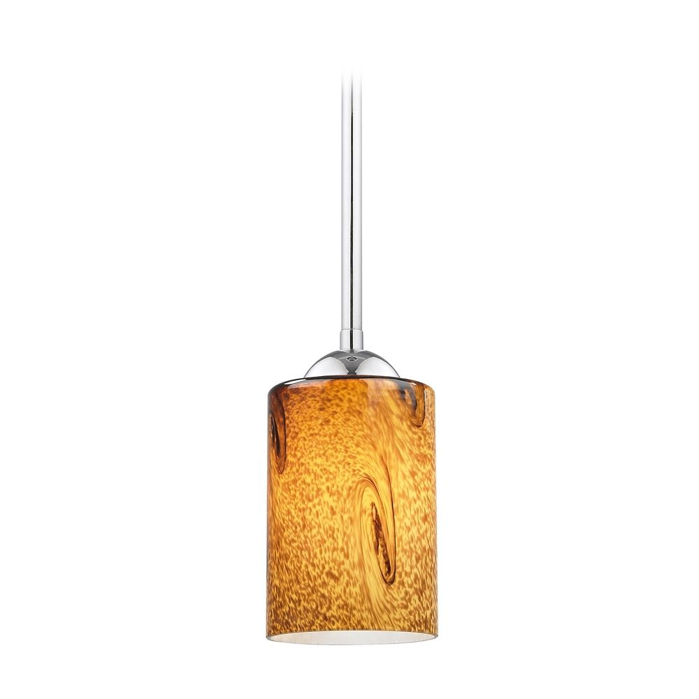 Hgtv Home Cassandra Blown Glass Mini Pendant Modern: Modern Mini-Pendant Light With Brown Art Glass