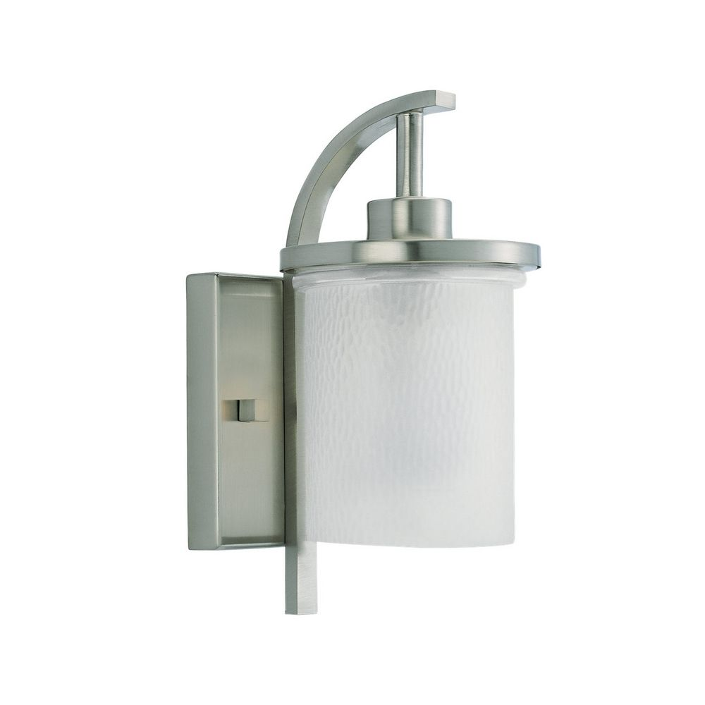lighting modern outdoor wall light with white glass in brushed nickel. Black Bedroom Furniture Sets. Home Design Ideas