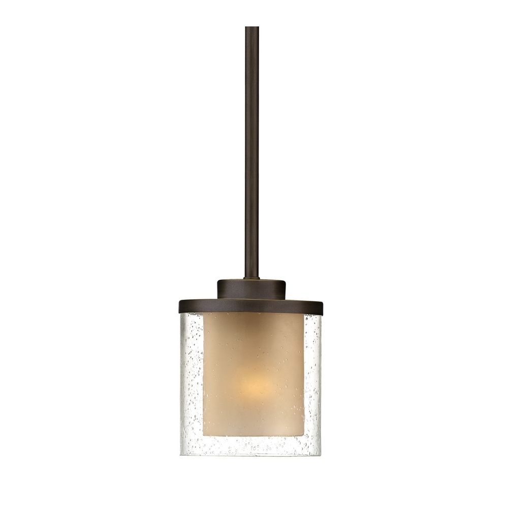 Seeded glass amber mini pendant light bronze dolan designs 2951 product image aloadofball Choice Image