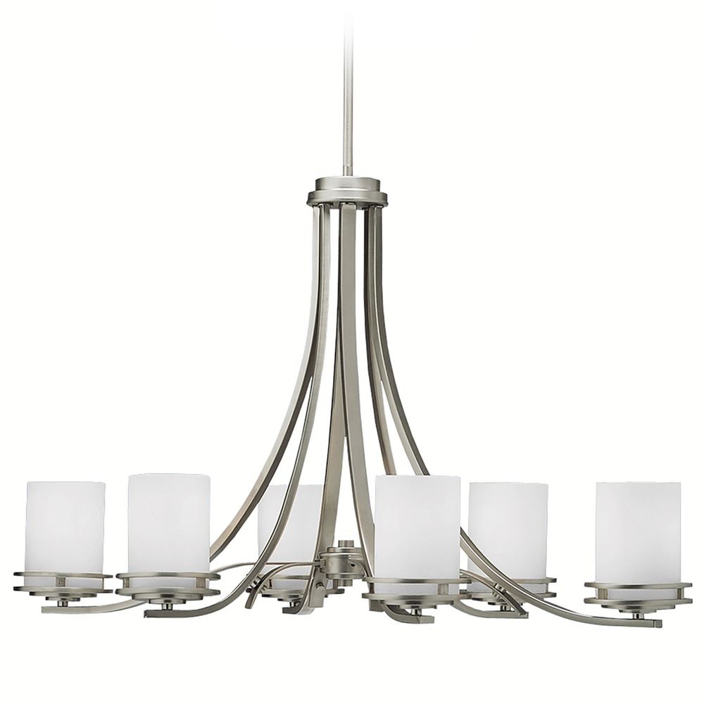 Kichler Lamps: Kichler Modern Chandelier With White Glass In Brushed