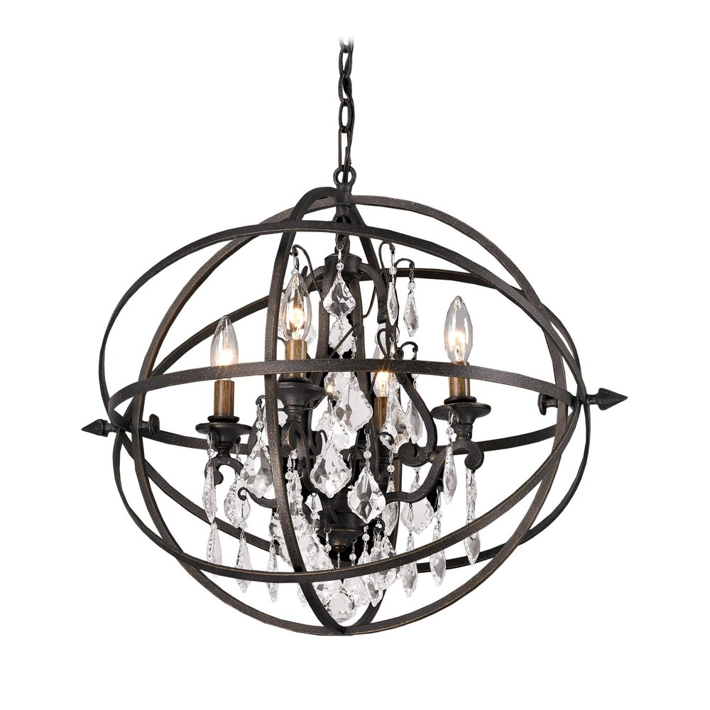 Orb Crystal Chandelier Pendant Light In Bronze Finish