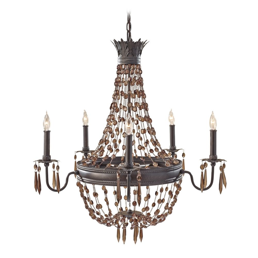 Crystal Chandelier In Rustic Iron Finish F2804 5RI Destination Lighting