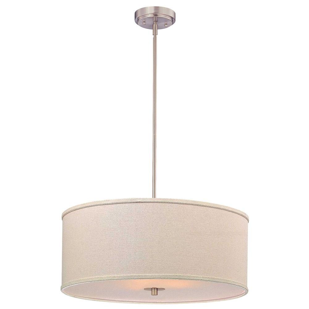 pendant drum lighting. modern drum pendant light with cream linen shade alt1 lighting
