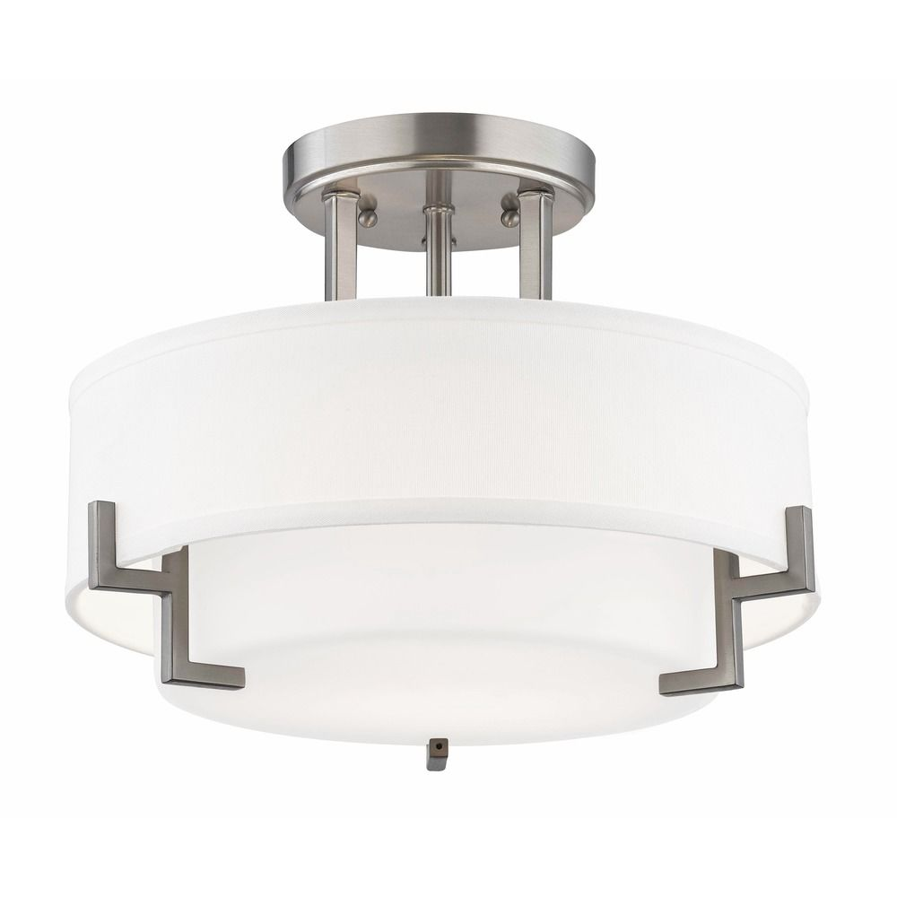 Modern Ceiling Light With White Glass In Satin Nickel Finish 7014 09 Destination Lighting