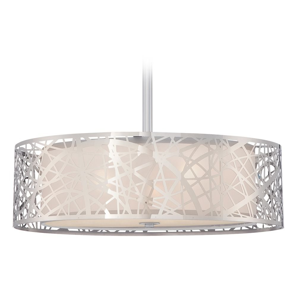 Quoizel Platinum Collection Abode Polished Chrome Pendant Light With Drum Shade At Destination Lighting
