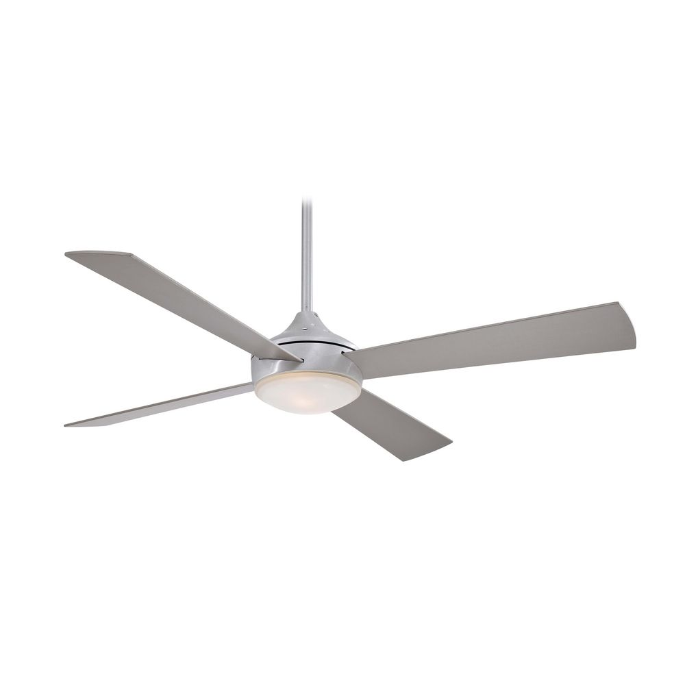 52 Inch Modern Ceiling Fan With Light With White Glass