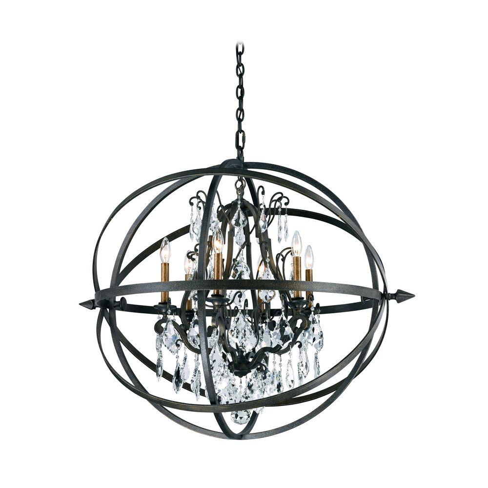 modern crystal orb pendant chandelier light in bronze finish f2997