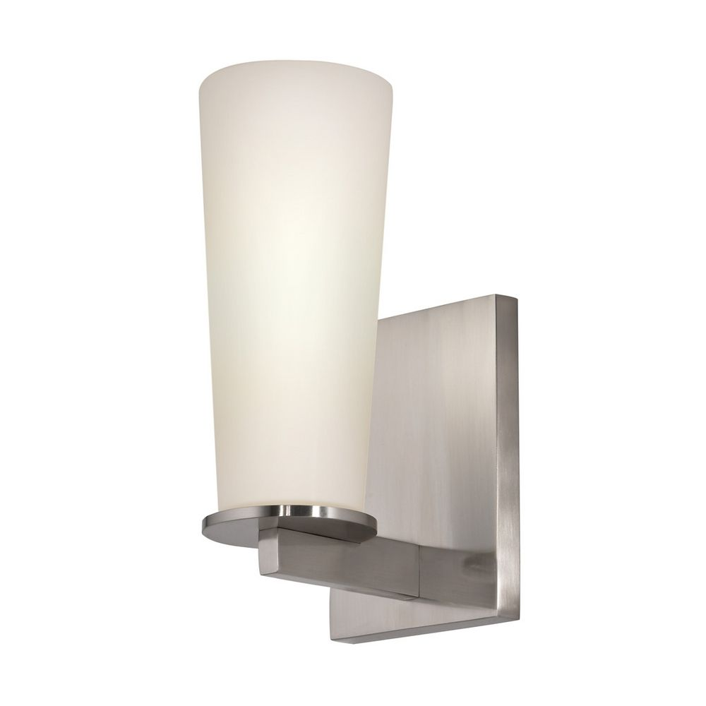 Modern Sconce Wall Light with White Glass in Satin Nickel Finish 4920.13 Destination Lighting