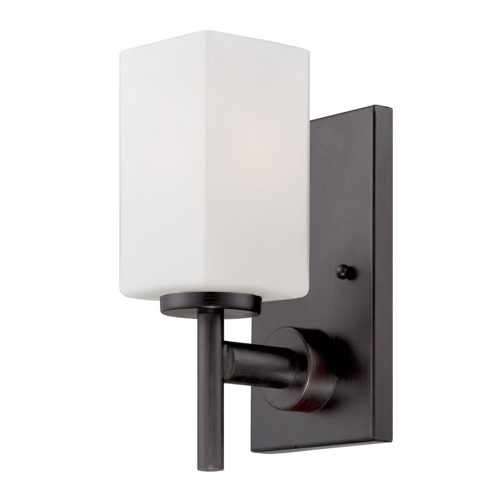 Wall Sconces Bronze Finish : Modern Sconce Wall Light with White Glass in Biscayne Bronze Finish 6731-BBR Destination ...