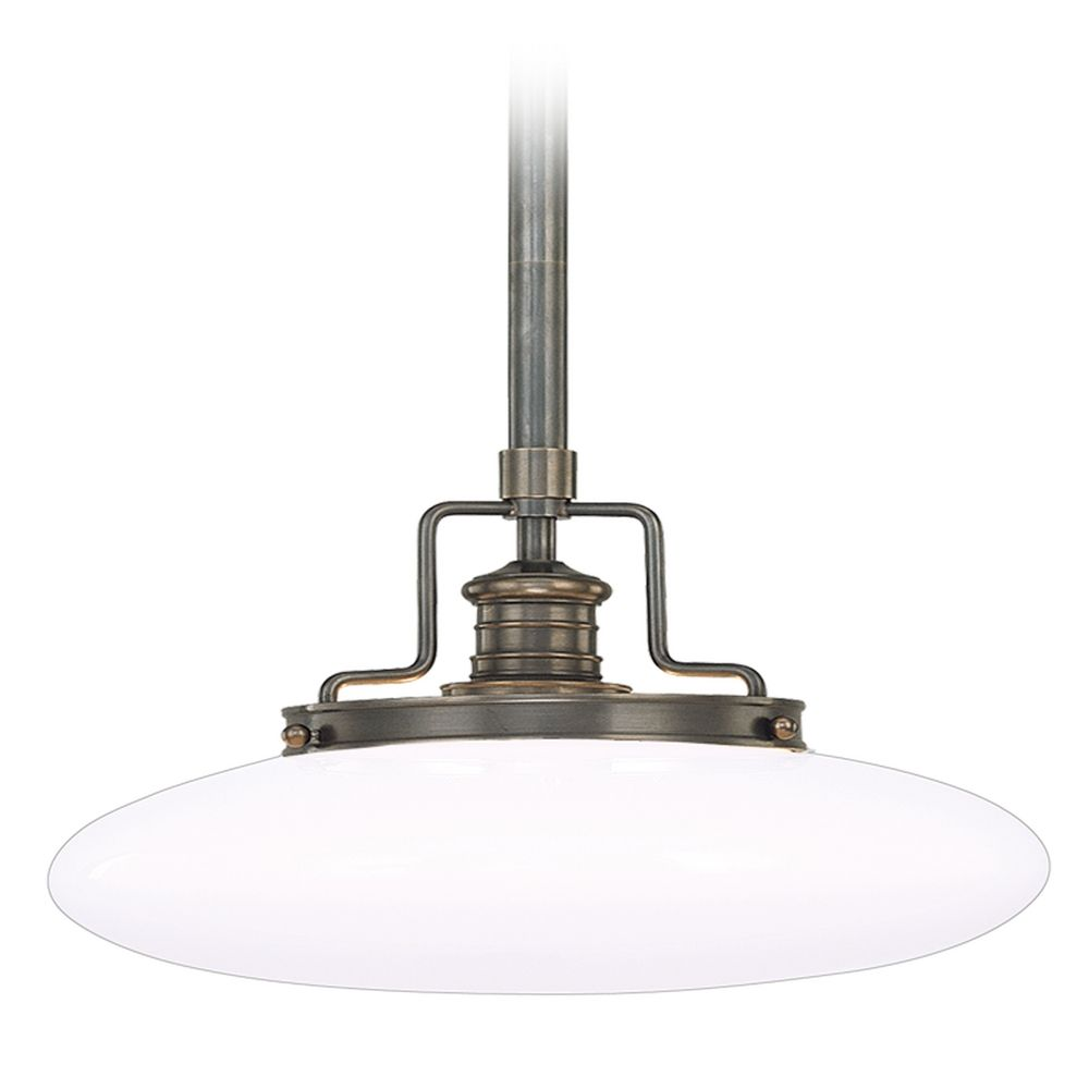 modern pendant light with white glass in old bronze finish