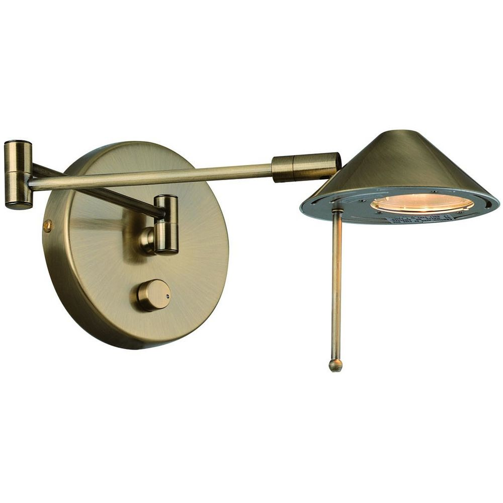 Wall Lamps Brass : Lite Swing Arm Lamp Rhine Antique Brass Wall Lamp LS-16350AB Destination Lighting