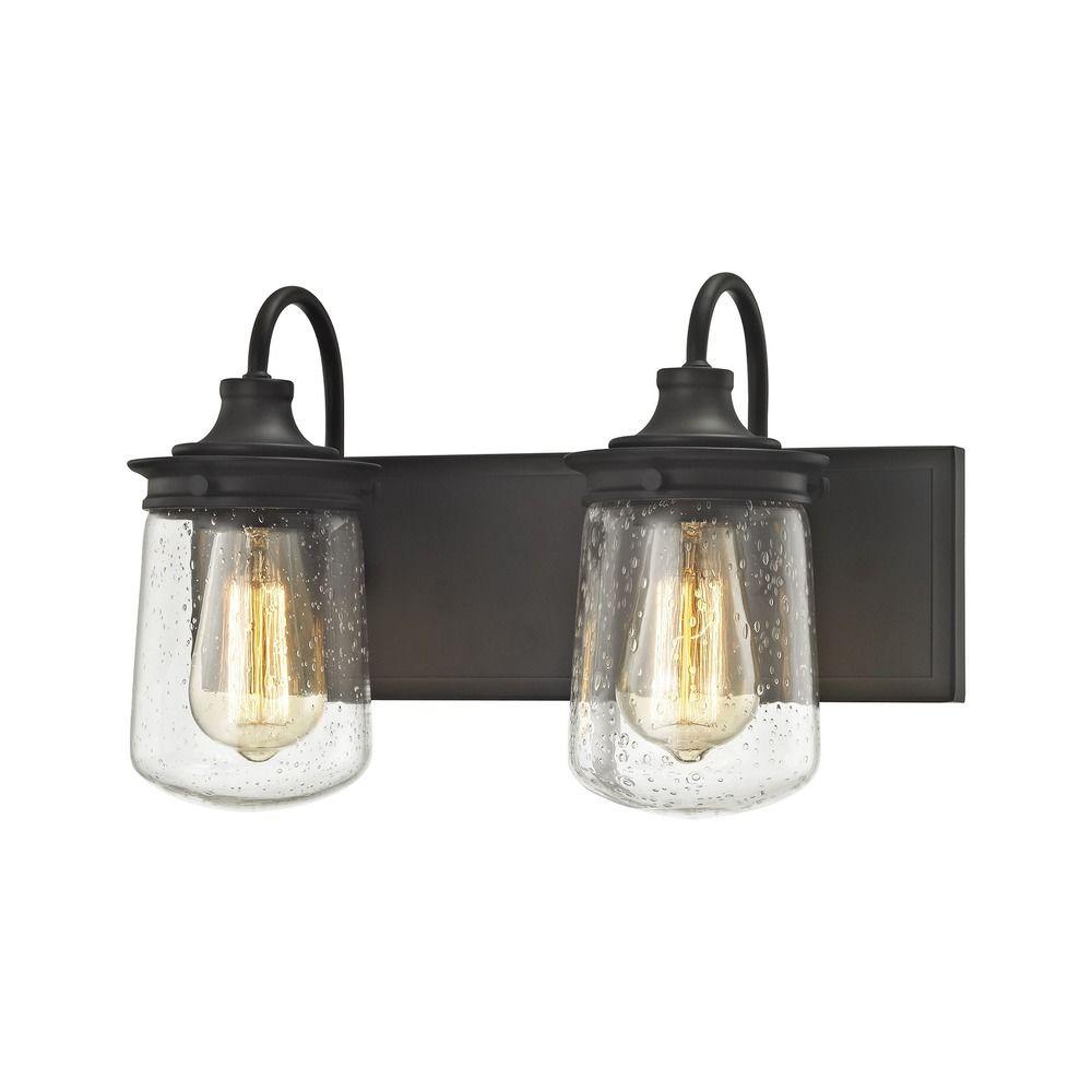 Seeded Glass Bathroom Light Oil Rubbed Bronze Elk Lighting 81211 2 Destination Lighting