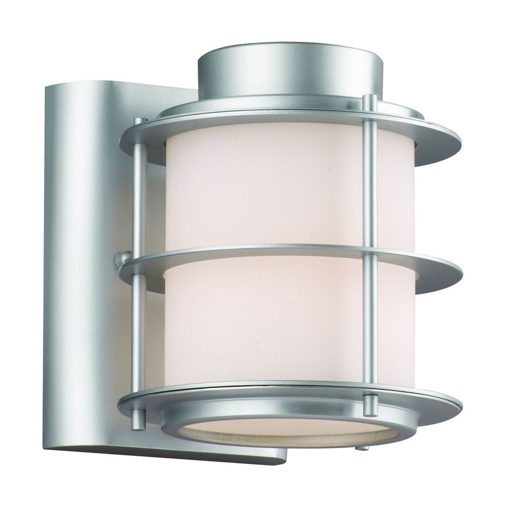 Modern Outdoor Wall Light with White Glass in Vista Silver Finish F849641 Destination Lighting