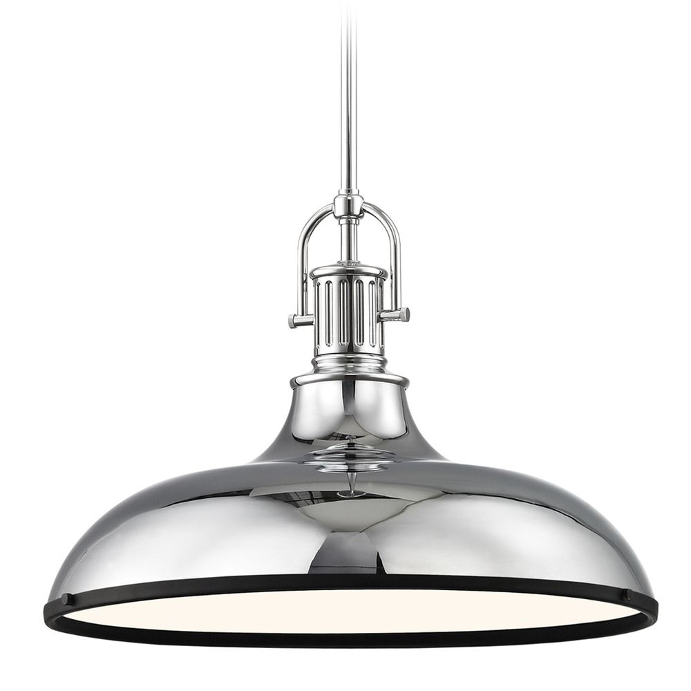 Design Clics Lighting Large Pendant Light Chrome With Black 18 38 Inch Wide 1764