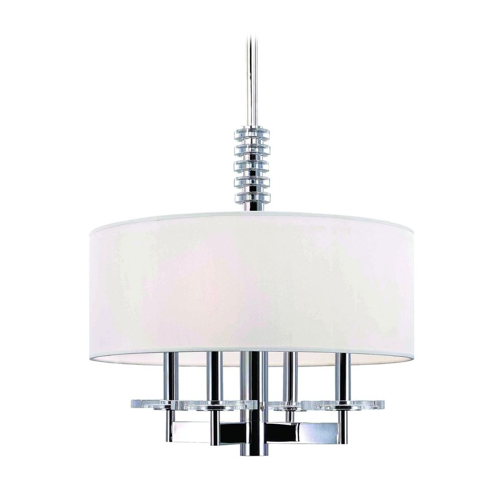 Modern drum pendant light with white shade in polished for Modern white pendant lighting